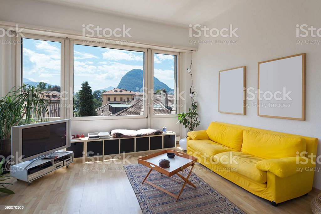 living room of old apartment royalty-free stock photo