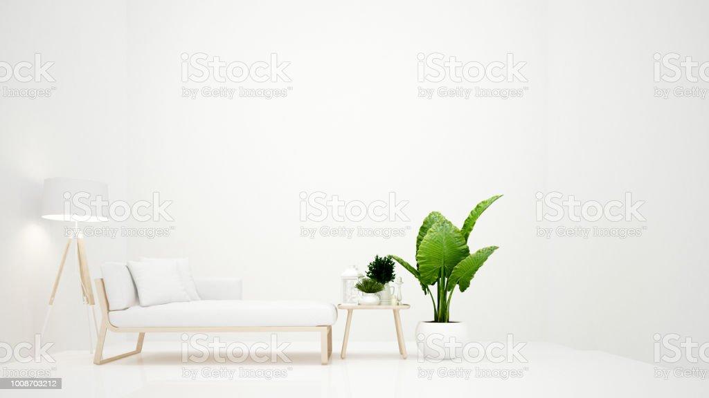 Woonkamer op witte toon minimalistische stijl witte daybed met