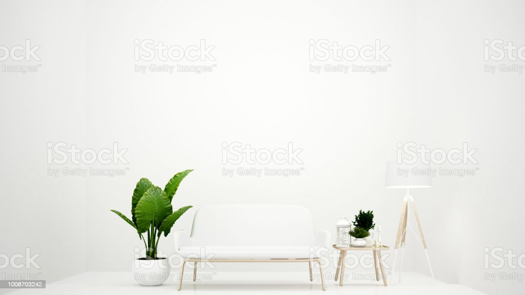Living room on white tone minimal style - White room and empty space...