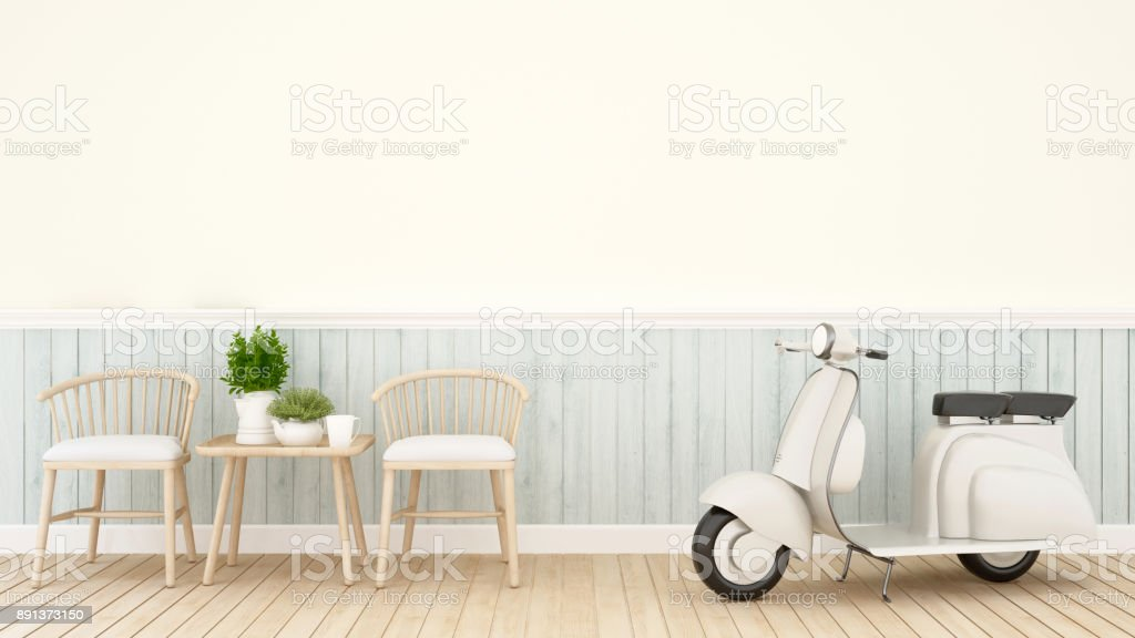 Living Room Or Dining Room And Vintage Motorcycle In Coffee Shop Or