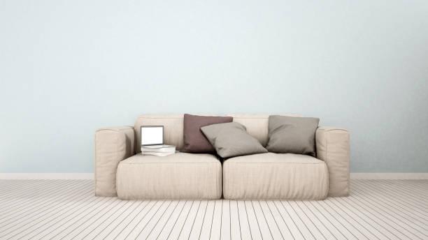 wohnzimmer oder kind raum in haus oder wohnung - 3d rendering - hellblaues zimmer stock-fotos und bilder