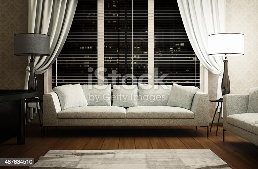 istock Living room or office, interior scene 487634510
