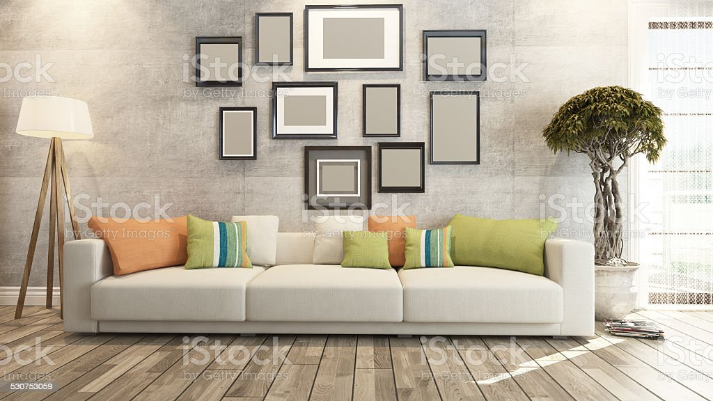 living room or saloon interior design 3d rendering stock photo