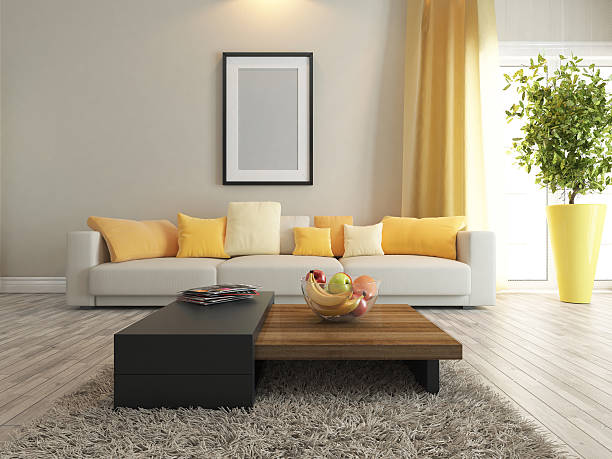 living room or saloon interior design rendering stock photo