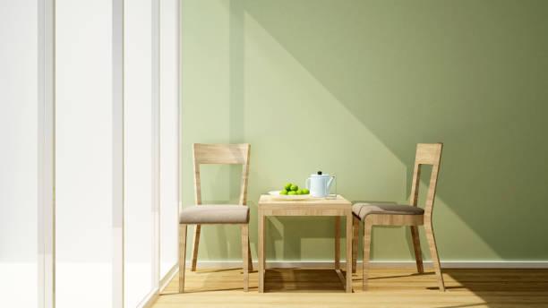 wohnzimmer oder wrokplace grüne wand und balkon am sonnenschein tag für artwork - interior design für wohnung oder anderen raum für miete-3d rendering - couchtisch metall stock-fotos und bilder