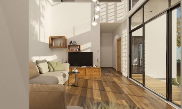 Wohnzimmer mit Blick auf die Terrasse am hellichten Tag – Foto
