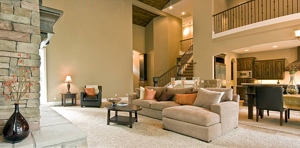 living room panorama in luxury home - tapijt stockfoto's en -beelden