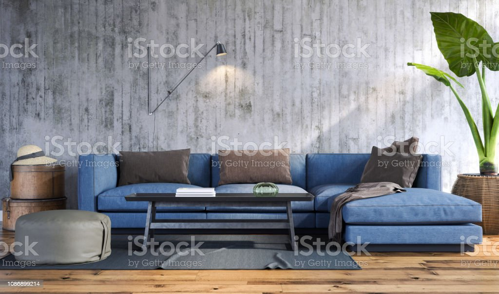Living room Modern living room with blue sofa 2019 Stock Photo