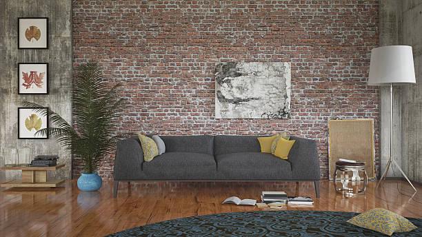 wohnzimmer room - rustikale mode stock-fotos und bilder