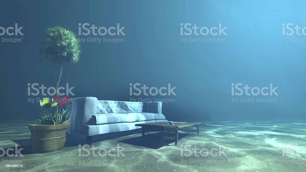 Living room underwater for Relaxation royalty-free stock photo