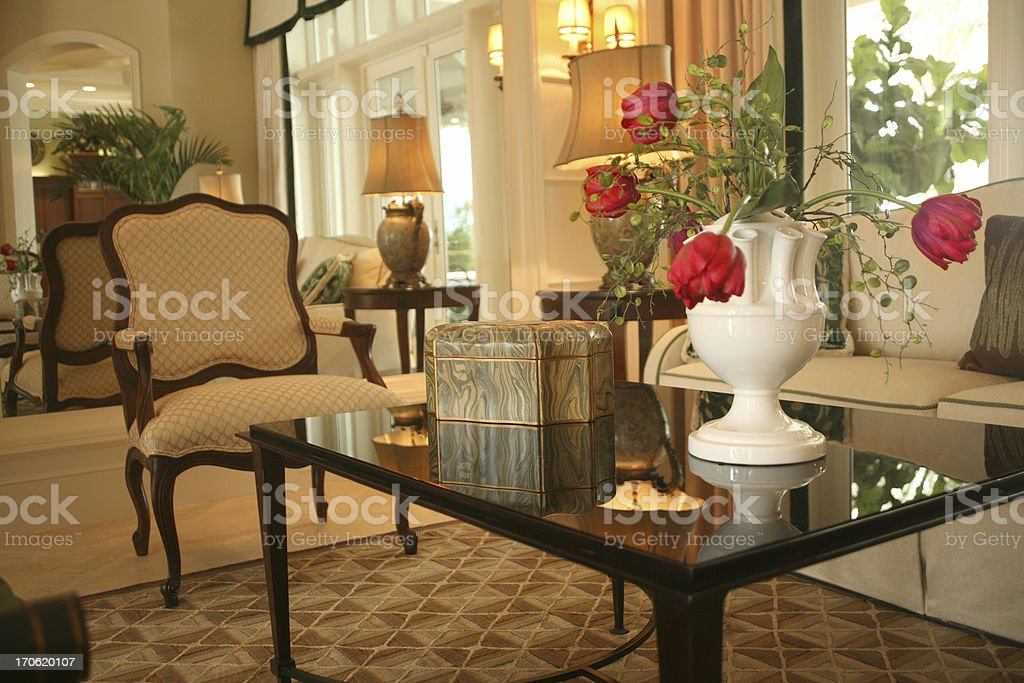 Living Room: Upscale Home Interior royalty-free stock photo