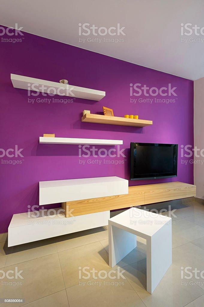 Image of: Foto De Sala De Estar Com Tv E Prateleiras De Parede E Mais Fotos De Stock De Apartamento Istock