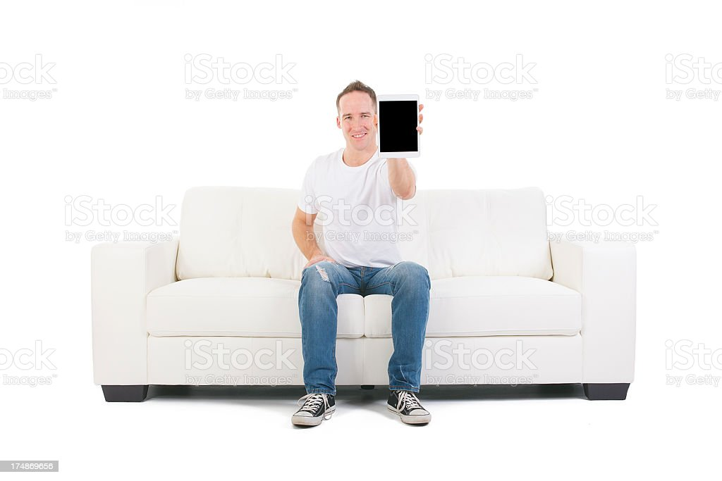 Living Room White Sofa - Tablet Show royalty-free stock photo