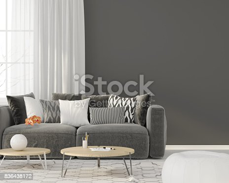 istock Living room with a gray sofa 836438172