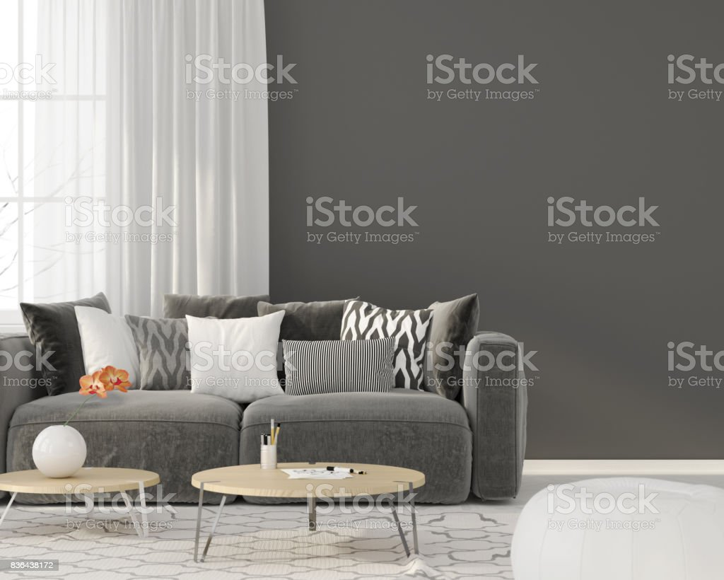 Living room with a gray sofa stock photo