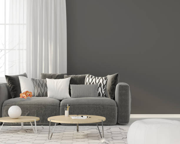 living room with a gray sofa - indoors stock pictures, royalty-free photos & images