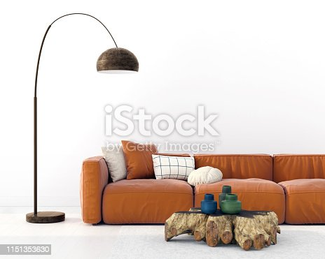 Fashionable living room interior with a terracotta-colored sofa, a stump table and a copper floor lamp / 3D illustration, 3d render