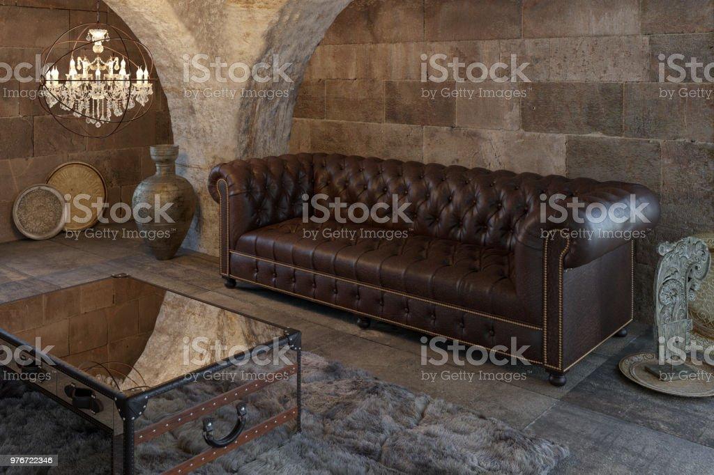Living Comedor Con Muebles Antiguos Foto de stock y más banco de ...