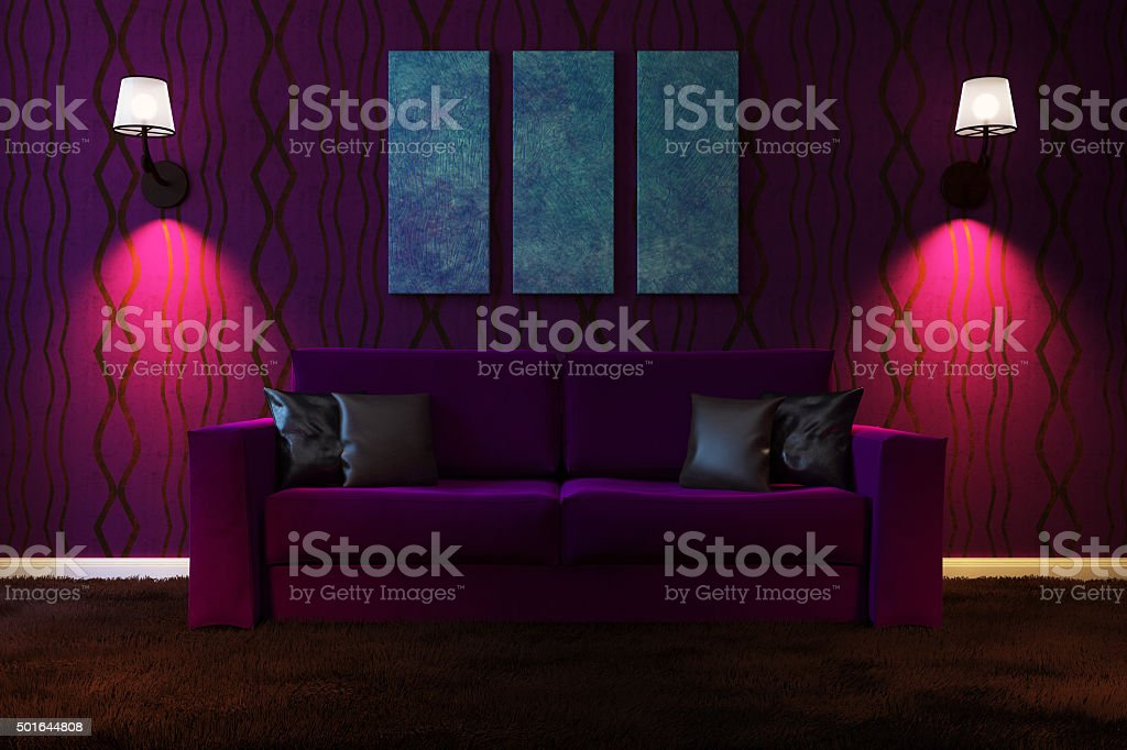 Living room with artificial lighting made in dark colors stock photo