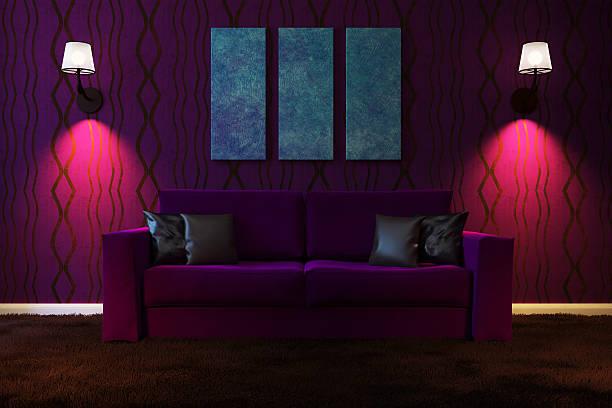 Sala de estar con iluminación artificial hecho en colores oscuros - foto de stock