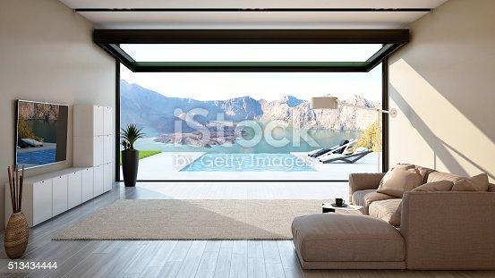 istock Living Room with Big Open-Sliding Window 513434444
