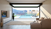 Living Room with Big Open-Sliding Window and Outdoor Pool-Mountains View