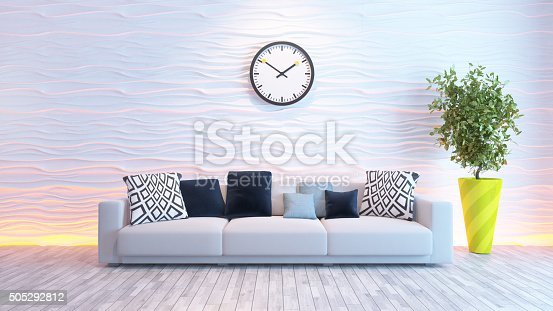 629801250istockphoto living room with big watch on white wave wall 505292812