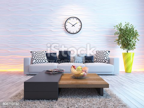 629801250istockphoto living room with big watch on white wave wall 505713132
