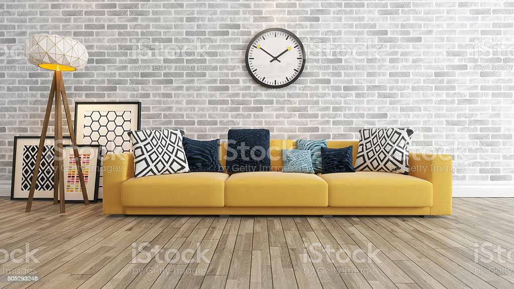 living room with big watch white brick wall