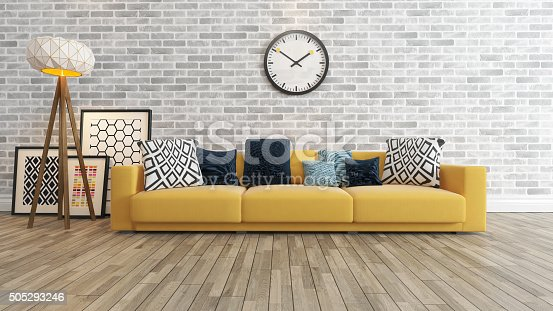 629801250 istock photo living room with big watch white brick wall 505293246