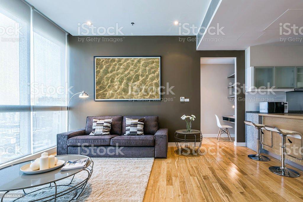 living room with big window stock photo