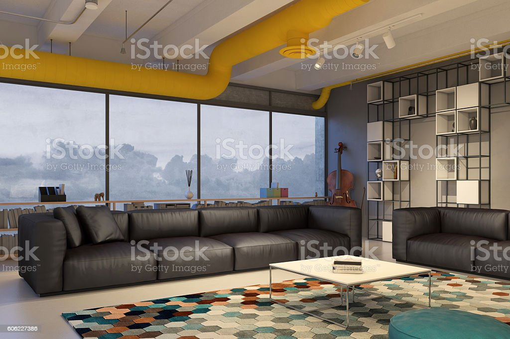 Living room with black leather sofa stock photo