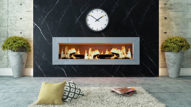 living room with black marble fireplace decor design stock photo