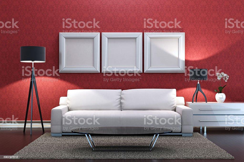 Living room with blank image frames royaltyfri bildbanksbilder