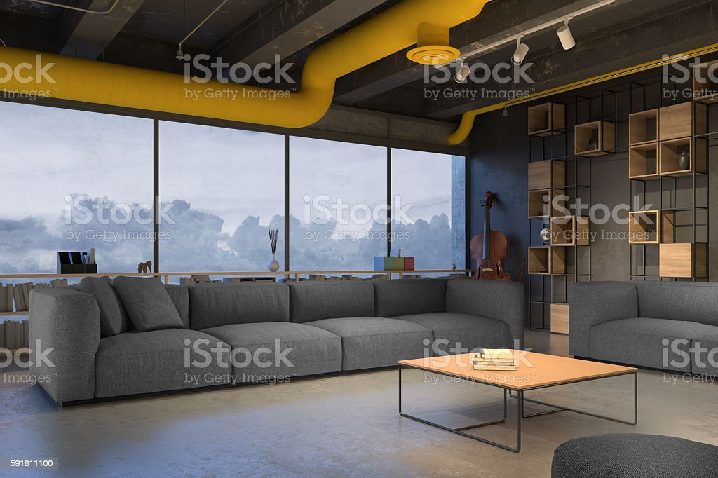 Living room with blue sofa stock photo