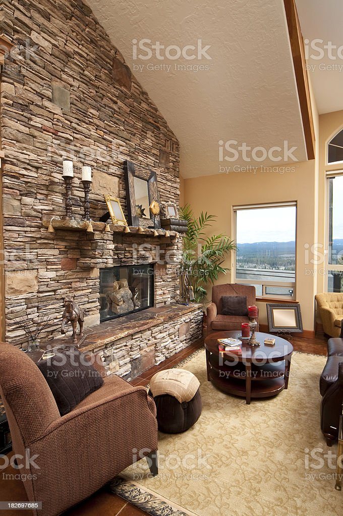 Living room with brick wall fireplace royalty-free stock photo
