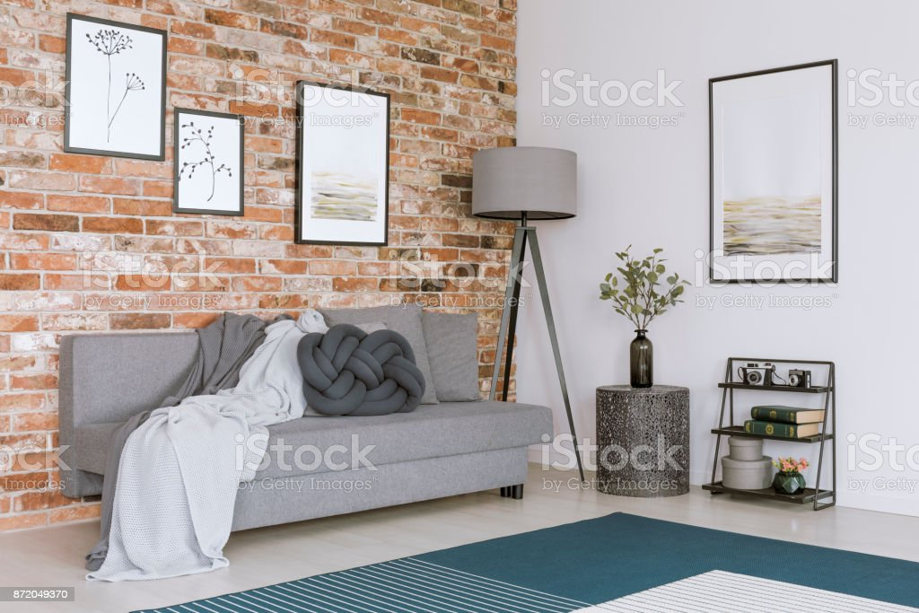 Living room with brick wall stock photo