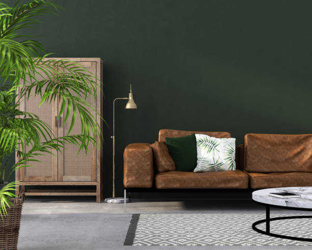 living room with brown leather sofa stock photo