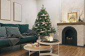 Picture of living room with Christmas decoration. Render image.