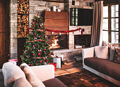 christmas tree with the fireplace