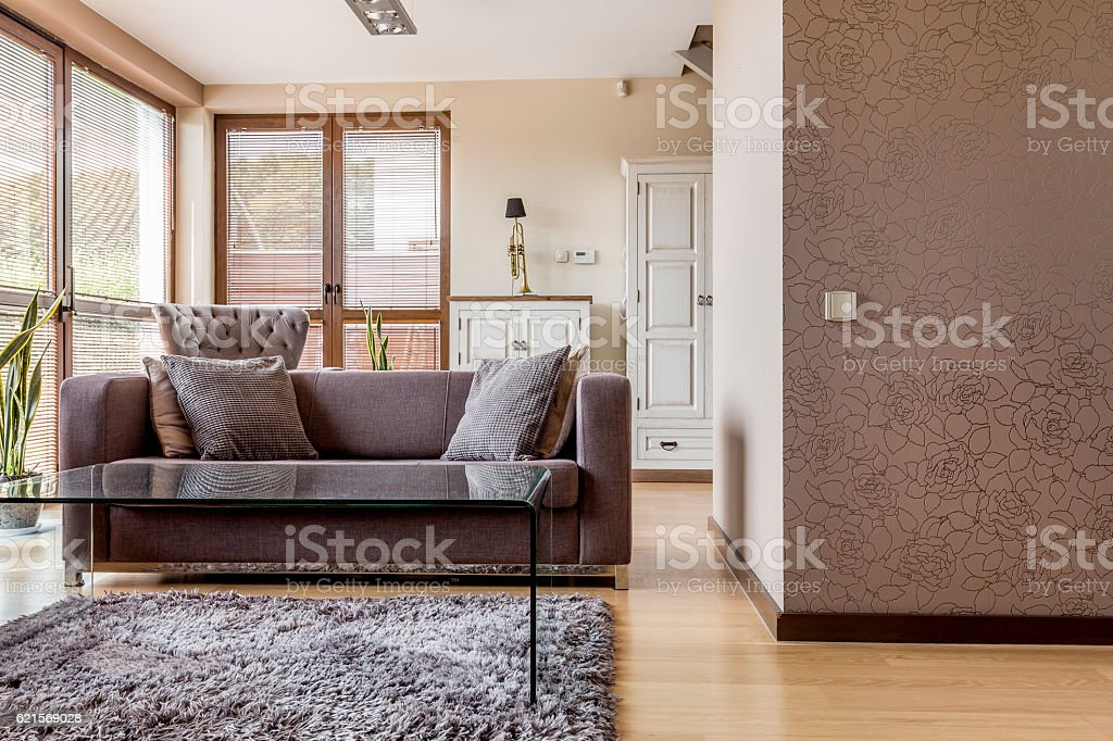 Living room with comfortable sofa foto stock royalty-free