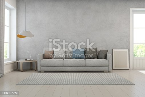610958498istockphoto Living room with concrete wall in modern house, Loft interior design 666907750
