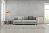 Living room with concrete wall in modern house, Loft interior design
