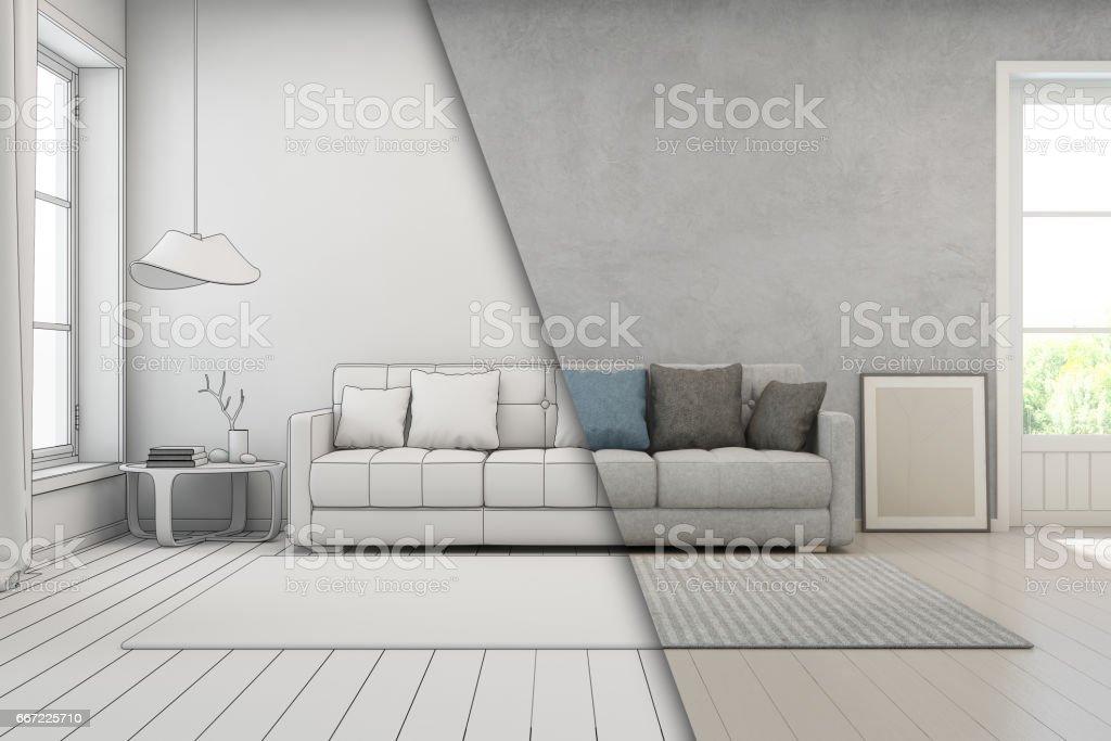 Wohnzimmer mit betonmauer im modernen haus skizze design loft