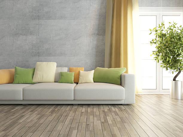 wohnzimmer mit betonwand abbildung - kissen grün stock-fotos und bilder