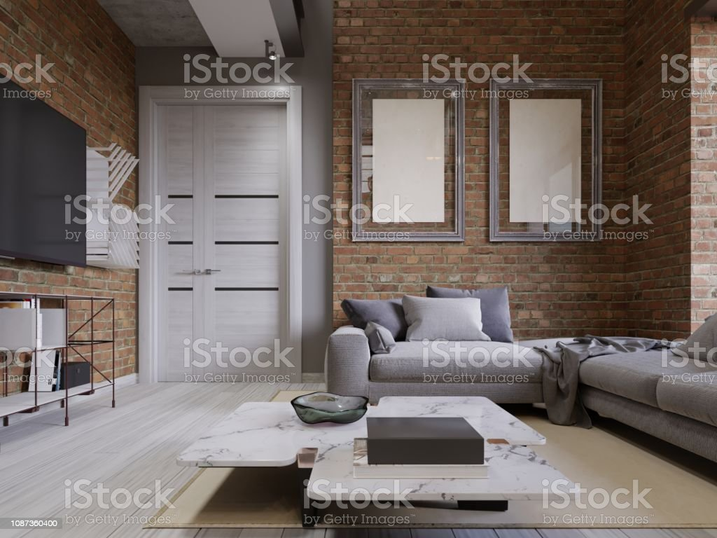 Living Room With Corner Sofa With Pillows And A White Marble Coffee Table  With Empty Paintings On A Brick Wall Tv Stand Stock Photo - Download Image  ...
