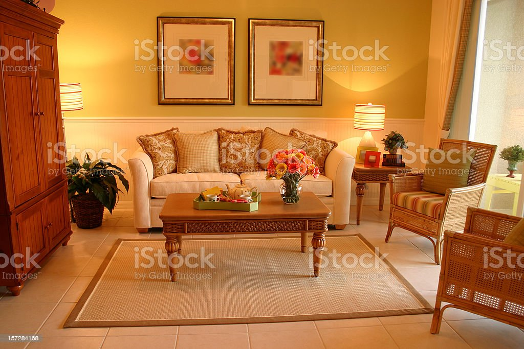 Living Room with Couch and Coffee Table royalty-free stock photo
