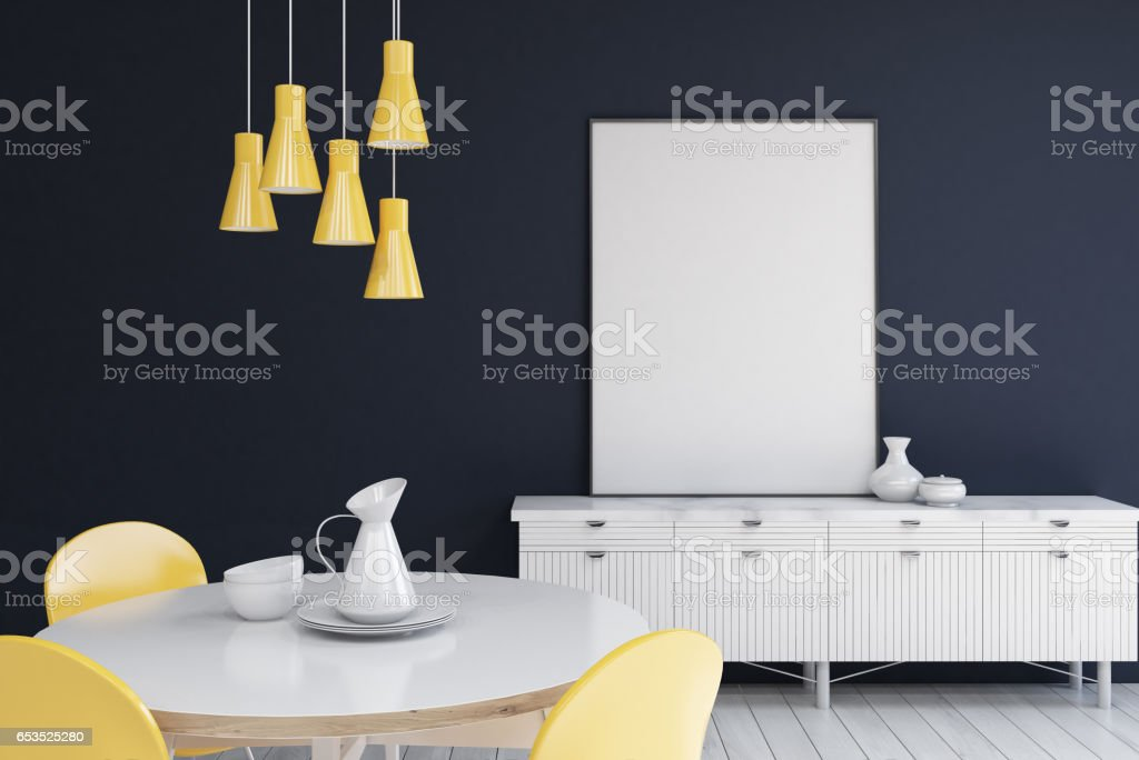 Living Room With Dark Blue Walls Poster Stock Photo ...