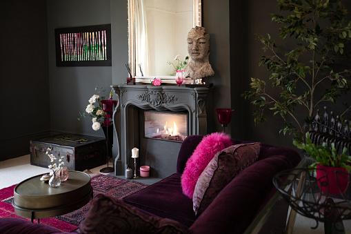 Contemporary decor, bold colour palette, luxurious textiles
