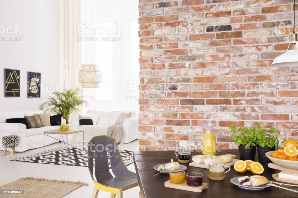 Living room with dining table stock photo